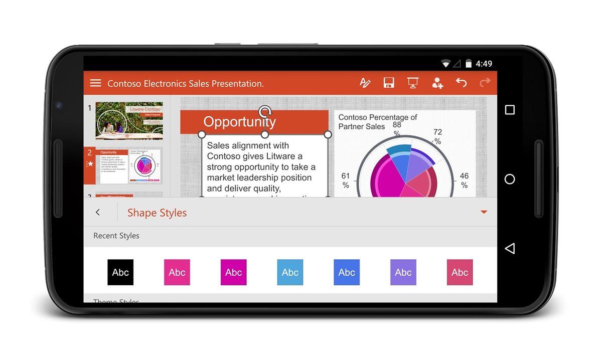 Microsofts Office-Programme gibt es auch für Unterwegs. Power-Point-Präsentationen können so auch auf dem Smartphone angesehen und bearbeitet werden.
