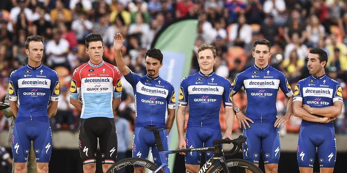 L'équipe Deceuninck qui dispute cette semaine le Tour de Colombie avec Bob Jungels et Julian Alaphilippe en chefs de file.
