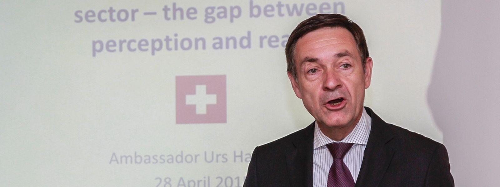 Urs Hammer, ambassadeur de Suisse au Luxembourg, qui s'exprimait à l'occasion d'une conférence du «Luxembourg Institute for Global Financial Integrity». (Photo: Guy Jallay)