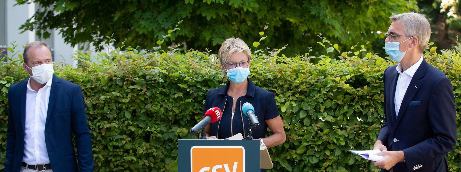 Gilles Roth, Martine Hansen und Léon Gloden vertraten die 21 CSV-Abgeordneten am Montag.