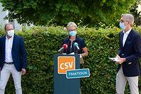 Politik, CSV Bilan parlementaire, Martine Hansen, Gilles Roth, Léon Gloden, foto: Chris Karaba/Luxemburger Wort