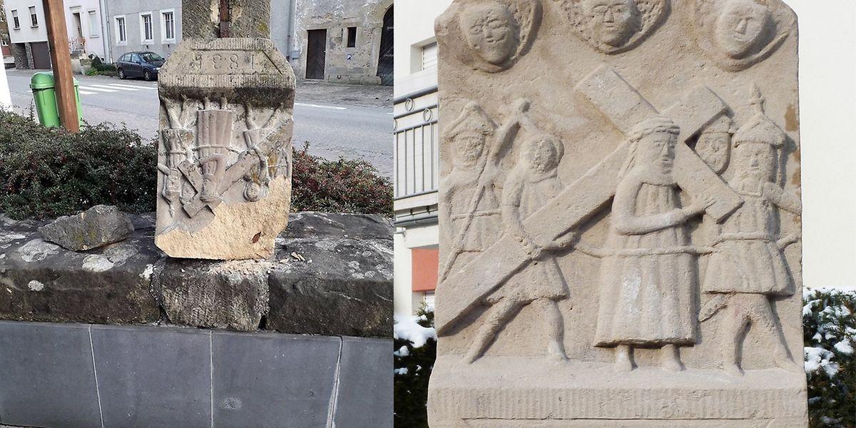 Rund ein Drittel des Reliefs war bei dem Sturz abgesplittert (links). Rechts die Kopfplatte nach der Restaurierung.