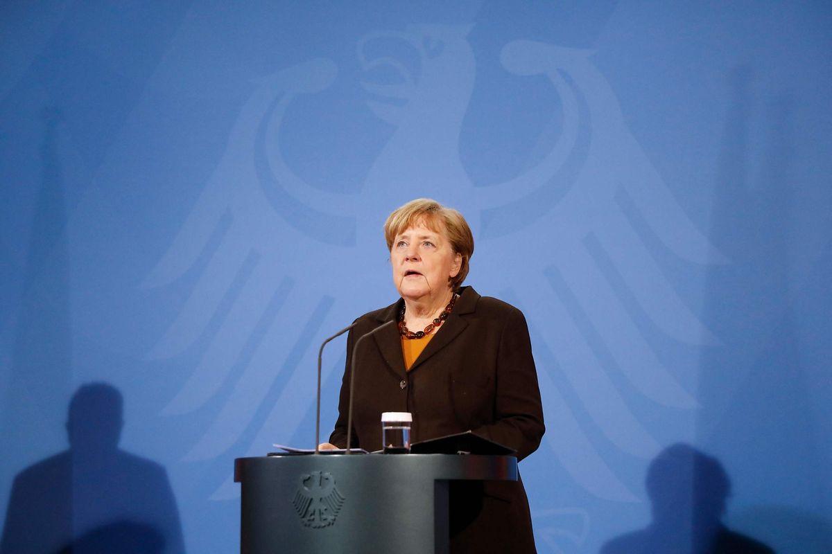 Bundeskanzlerin Angela Merkel (CDU) spricht im Kanzleramt bei einer Pressekonferenz.