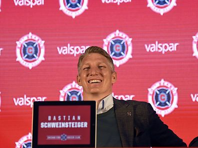 CHICAGO, IL - MARCH 29: The Chicago Fire Introduce Basitan Schweinsteiger during a press conference on March 29, 2017 at the The PrivateBank Fire Pitch in Chicago, Illinois.   David Banks/Getty Images/AFP == FOR NEWSPAPERS, INTERNET, TELCOS & TELEVISION USE ONLY ==