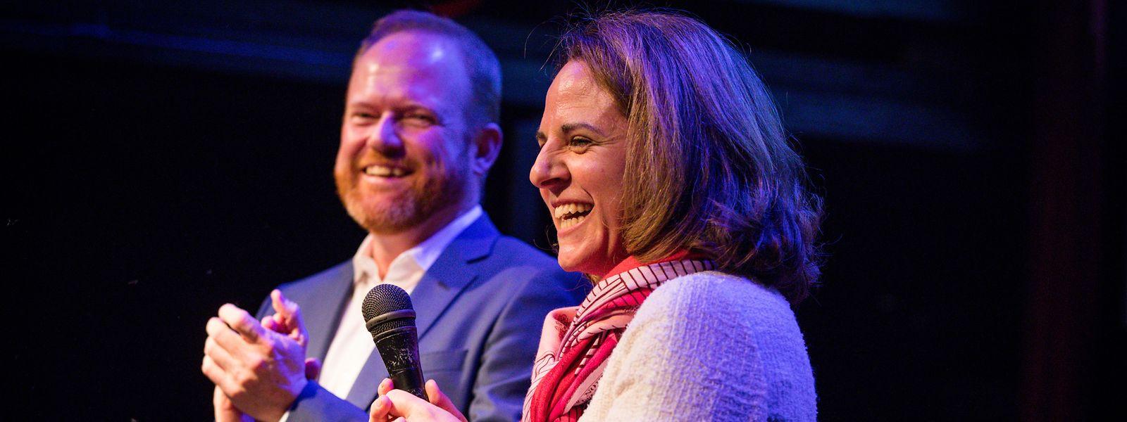 Wir geben Gas, wir haben Spaß: Corinne Cahen und Claude Lamberty.