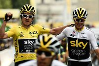 """(FILES) In this file photograph taken on July 29, 2018, Tour de France winner Great Britain's Geraint Thomas (L) wearing the overall leader's yellow jersey and classification third-placed Great Britain's Christopher Froome (C) react as they cross the fisnish line of 21st and last stage of the 105th edition of the Tour de France cycling race between Houilles and Paris Champs-Elysees. - Four-time Tour de France champion Chris Froome will not get the chance to end his spell with Team Ineos Grenadier with a tilt at a fifth crown after being omitted from the team for this year's race. The 35-year-old Kenyan-born British rider """"needs more time"""" according to team principal Dave Brailsford and will instead aim for the Vuelta d'Espana, AFP learnt on August 19, 2020. Brailsford has also left out 2018 champion Geraint Thomas who will target the Giro d'Italia. (Photo by Philippe LOPEZ / AFP)"""