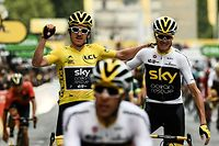 "(FILES) In this file photograph taken on July 29, 2018, Tour de France winner Great Britain's Geraint Thomas (L) wearing the overall leader's yellow jersey and classification third-placed Great Britain's Christopher Froome (C) react as they cross the fisnish line of 21st and last stage of the 105th edition of the Tour de France cycling race between Houilles and Paris Champs-Elysees. - Four-time Tour de France champion Chris Froome will not get the chance to end his spell with Team Ineos Grenadier with a tilt at a fifth crown after being omitted from the team for this year's race. The 35-year-old Kenyan-born British rider ""needs more time"" according to team principal Dave Brailsford and will instead aim for the Vuelta d'Espana, AFP learnt on August 19, 2020. Brailsford has also left out 2018 champion Geraint Thomas who will target the Giro d'Italia. (Photo by Philippe LOPEZ / AFP)"