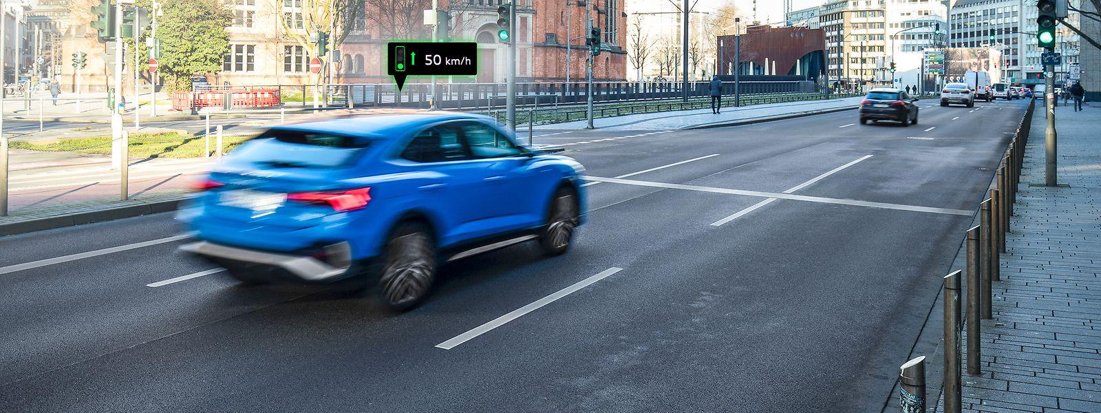In Pilotprojekten kommunizieren Ampeln mit Audi-Autos, die dann ein optimales Tempo berechnen, um perfekt auf der Grünen Welle mitschwimmen zu können.