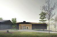 Ein geräumiger, lichtdurchfluteter Neubau, der in seiner Gestaltung und Raumaufteilung eine direkte Verbindung zur Natur schafft, gewährt den Trailgängern bei ihrem Stopp in der Gemeinde Sassenheim Unterschlupf.