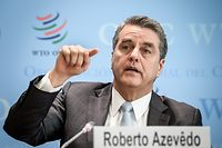 """World Trade Organization (WTO) director-general Roberto Azevedo attends a press conference on global trade growth forecasts for 2019-2020, on April 2, 2019 in Geneva. - Global trade growth is expected to be lower in 2019 than it was last year, the World Trade Organization forecast, citing widespread """"tensions"""" and uncertainty. (Photo by Fabrice COFFRINI / AFP)"""