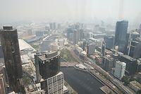Melbourne CBD is seen from Eureka Tower as smoke haze from the bushfires continues to hang over Melbourne. Wednesday, January 15, 2020. (AAP Image/David Crosling) NO ARCHIVING
