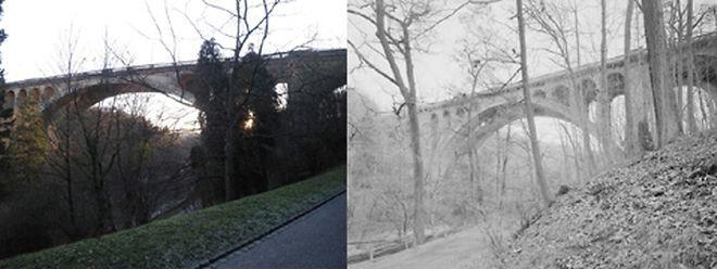 Die Walnut Lane Bridge in Philadelphia (rechts) wurde nach den gleichen Plänen gebaut, wie die Adolphe Brücke in Luxemburg.