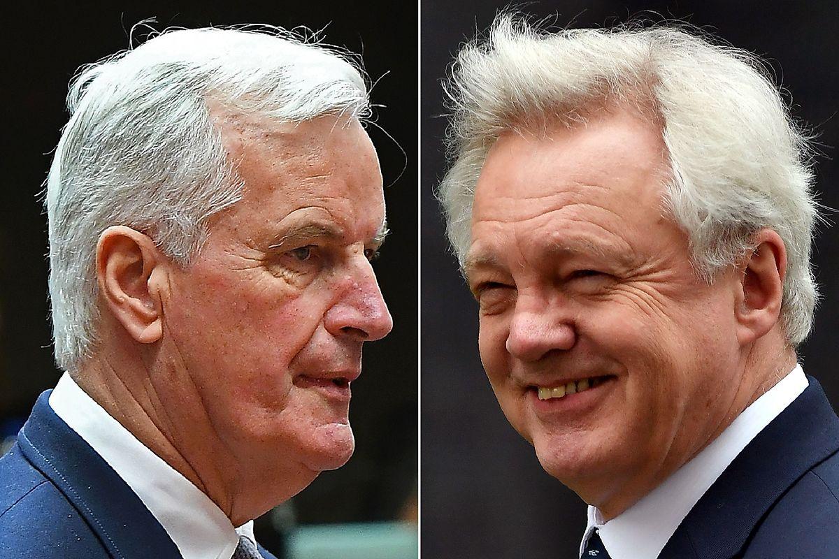 Die beiden Chefunterhändler Michel Barnier und Dave Davis (v.l.n.r.).