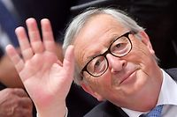President of the European Commission Jean-Claude Juncker waves prior to an European Council Summit at The Europa Building in Brussels, on June 20, 2019. (Photo by EMMANUEL DUNAND / AFP)