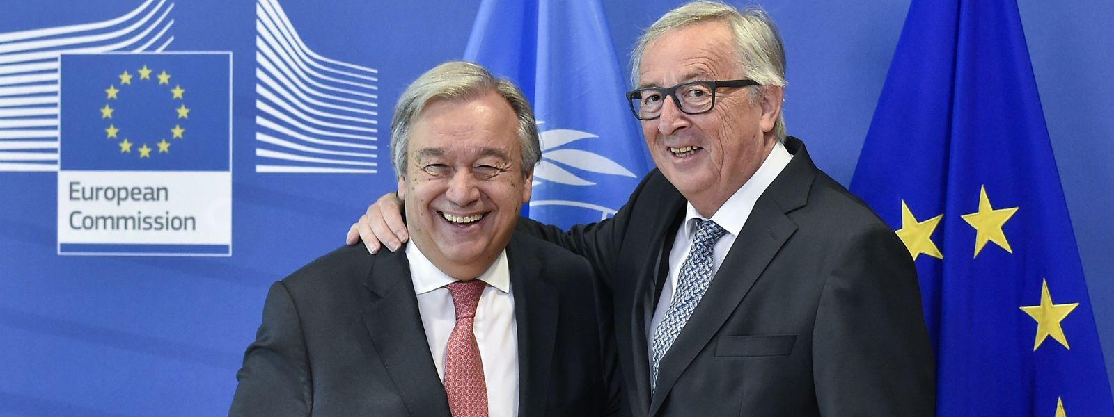 O Secretário-Geral da ONU, António Guterres, e o Presidente da Comissão Europeia, Jean Claude Juncker, em Bruxelas