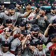 Glückliche Gesichter: Die Bostton Red Soy stehen in den World Series.