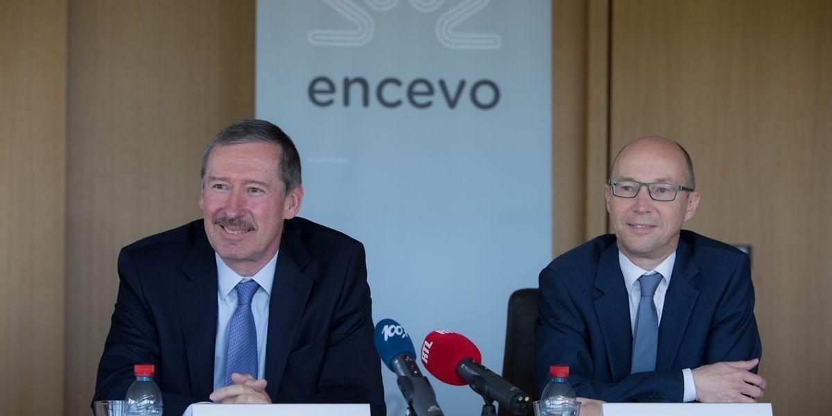 Generaldirektor Jean Lucius und Verwaltungsratspräsident Marco Hoffmann bei der Vorstellung der Unternehmensergebnisse im Jahr 2016.