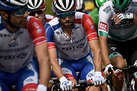 Team Groupama-FDJ rider France's Thibaut Pinot (C) rides during the 3rd stage of the 107th edition of the Tour de France cycling race, 198 km between Nice and Sisteron, on August 31, 2020. (Photo by Anne-Christine POUJOULAT / AFP)