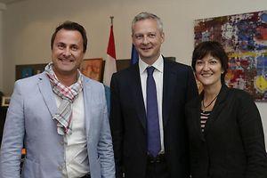 Anne Grommerch (à dr.), avec le député Bruno Le Maire et le Premier ministre Xavier Bettel, en 2014.