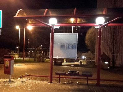 Smash bus shelter in Ettelbruck