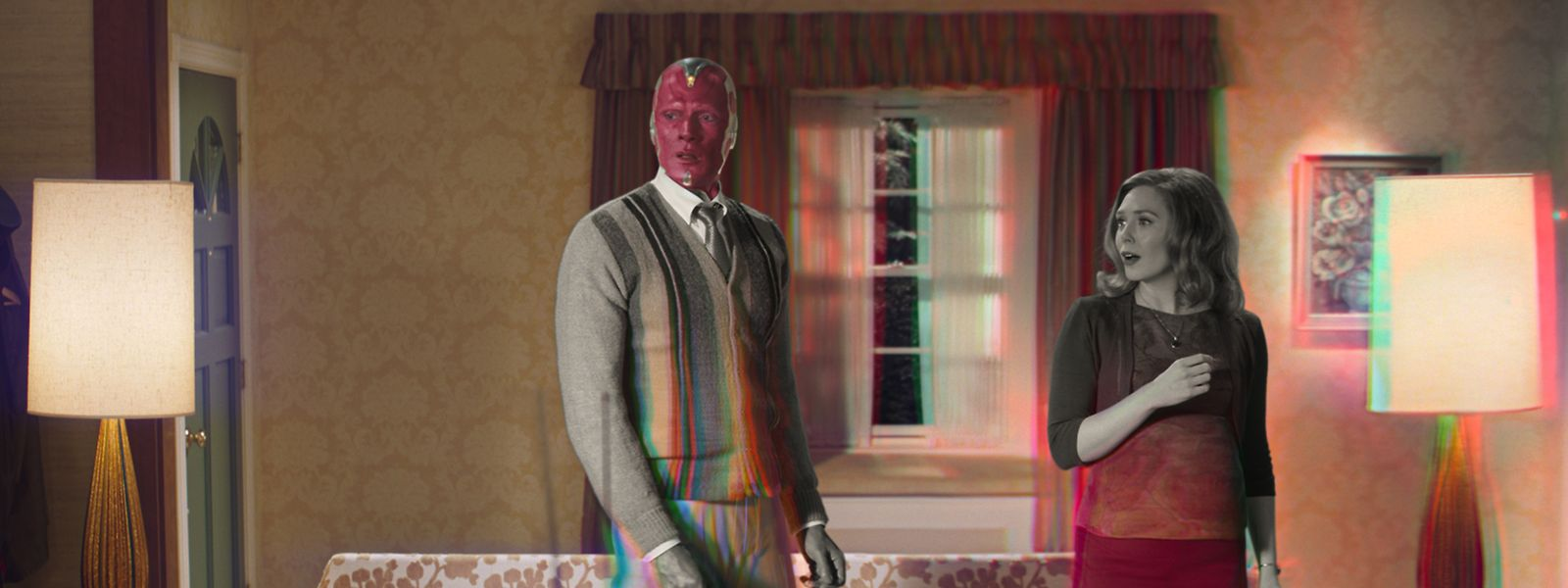 """Paul Bettany als """"Vision"""" und Elizabeth Olsen """"Wanda Maximoff"""" sind die neu fokussierten Helden im Marvel Universum."""