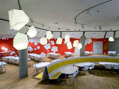 """Tobias Rehberger: """"283 Individual Works on Paper"""" 2008, Betriebsrestaurant der European Investment Bank."""