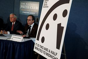 """Bulletin of the Atomic Scientists"" board members David Titley (L) and Chairman Lawrence Krauss speak at a news conference where the board revealed that it has moved the minute hand of their ""Doomsday Clock"" by 30 seconds to a more ominous 2-1/2 minutes from midnight at the National Press Club in Washington, U.S. January 26, 2017.  REUTERS/Jim Bourg"