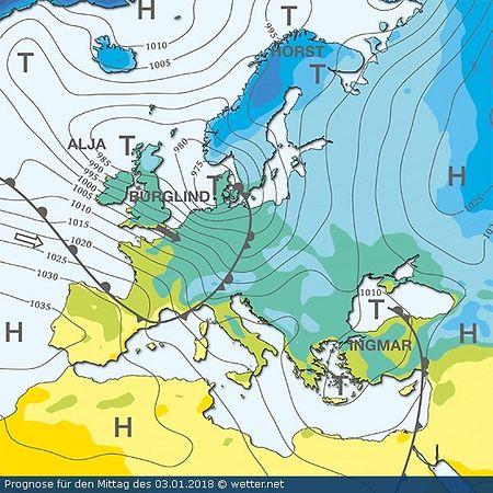 Orkantief Burglind am Mittwochmittag: das Zentrum des Tiefs ist über Dänemark zu finden