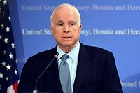 "(FILES) In this file photo taken on April 11, 2017, US Senator John McCain addresses the media during press conference at the US Embassy in Sarajevo. - McCain, 81, who has been battling brain cancer since last year, has decided to end his treatment, his family announced on August 24, 2018.  ""The progress of disease and the inexorable advance of age render their verdict. With his usual strength of will, he has now chosen to discontinue medical treatment,"" the family said in a statement. (Photo by ELVIS BARUKCIC / AFP)"