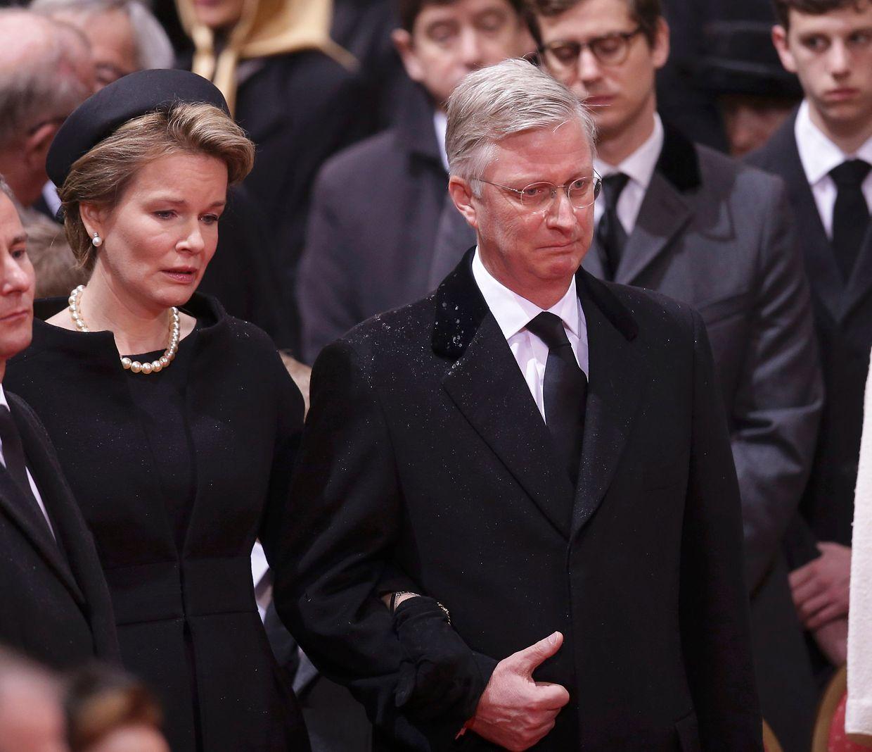 Der belgische König Philippe und Ehefrau Mathilde kommen zu den Trauerfeierlichkeiten für den verstorbenen Großherzog Jean.