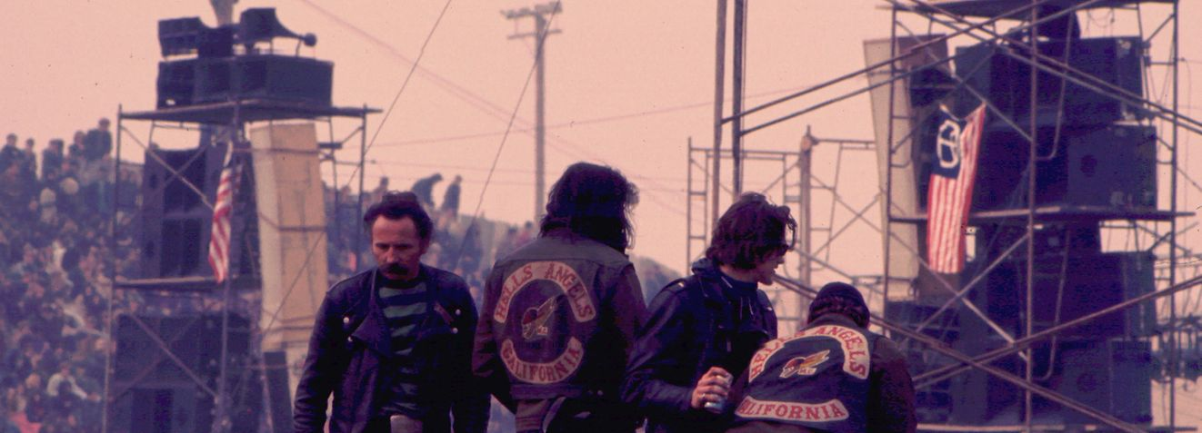 Hell's Angels before the Rolling Stones appeared at the Altamont Speedway for the free concert they were headlining. (Photo by William L. Rukeyser/Getty Images)