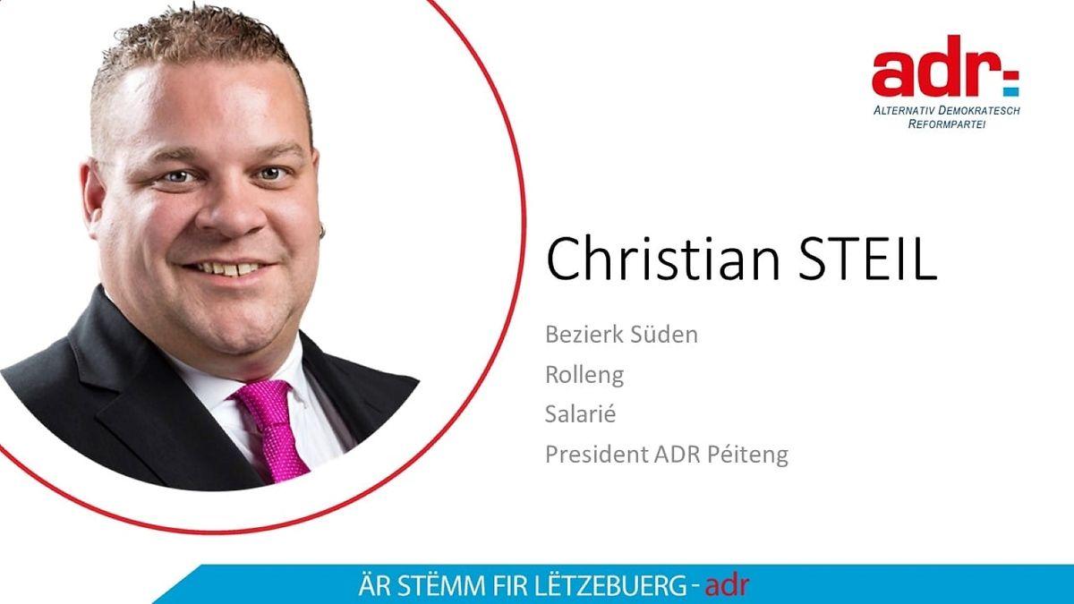 Christian Steils altes Bild als ADR-Kandidat bei den Parlamentswahlen 2018.