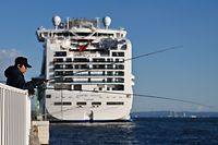 An angler fishes close to the Diamond Princess cruise ship, which has around 3,600 people quarantined onboard due to fears of the new COVID-19 coronavirus, at the Daikoku Pier Cruise Terminal in Yokohama port on February 18, 2020. - The World Health Organization has warned against a global over-reaction to the new coronavirus epidemic following panic-buying, event cancellations and concerns about cruise ship travel, as China's official death toll neared 1,900 on February 18. (Photo by CHARLY TRIBALLEAU / AFP)