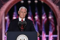 US Vice President Mike Pence speaks during the third night of the Republican National Convention at Fort McHenry National Monument in Baltimore, Maryland, August 26, 2020. (Photo by SAUL LOEB / AFP)