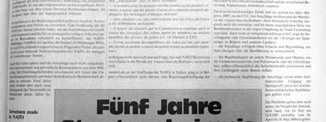 """Am 10. November 1990 enthüllt Romain Hilgert in einem Artikel die Existenz der luxemburgischen """"Stay behind""""-Truppe, die er fälschlicherweise mit dem Codenamen ihres italienischen Pendants, """"Gladio"""" bezeichnet. Von Anfang an stellt er dabei einen Zusammenhang zur """"Bommeleeër""""- Affäre her."""
