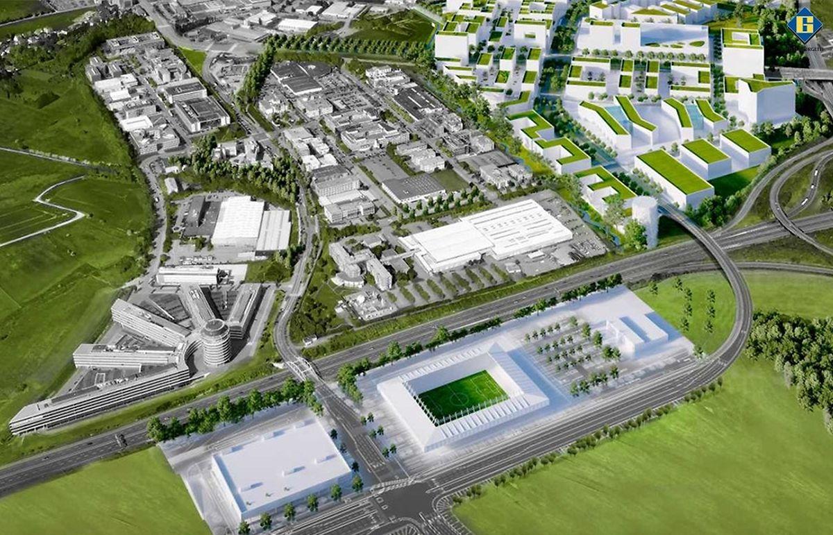"""A droite du futur stade, les premiers plans présentaient le parking """"officiel""""."""