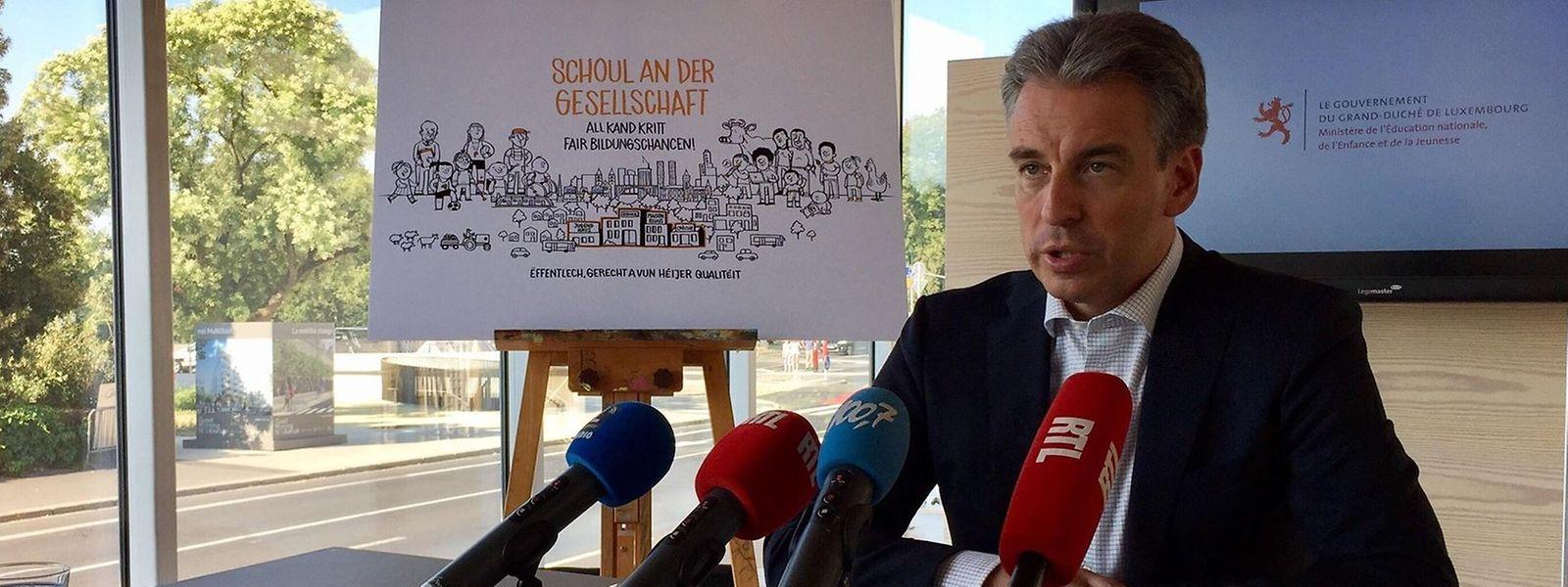 Le ministre de l'Éducation nationale, de l'Enfance et de la Jeunesse a fait le bilan de ses cinq ans au gouvernement, ce jeudi 26 juillet 2018, au Casino Luxembourg.