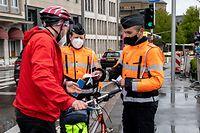 Lok , Kontrolle Velo , Sensibilisierungsaktion für die Fahrrradfahrer durch die Polizei , Fahrrad , Velo Foto:Guy Jallay/Luxemburger Wort