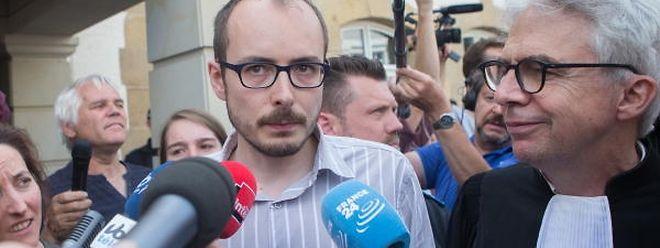 Antoine Deltour a la sortie du Tribunal lors du verdict contre les inculpés du procès LuxLeaks, le 29 Juin 2016. Photo: Chris Karaba