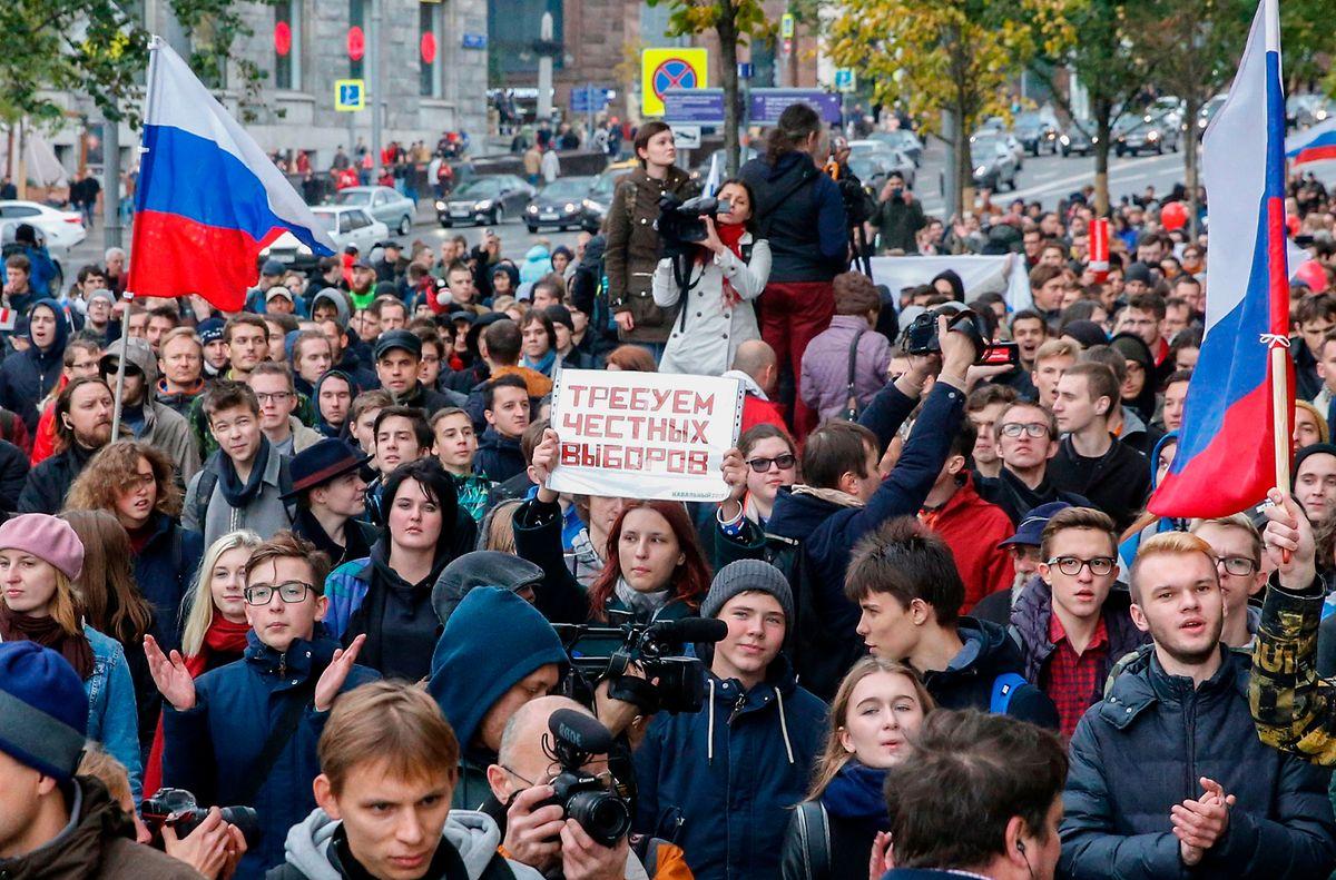 Anti-Kreml-Demonstranten in Moskau.