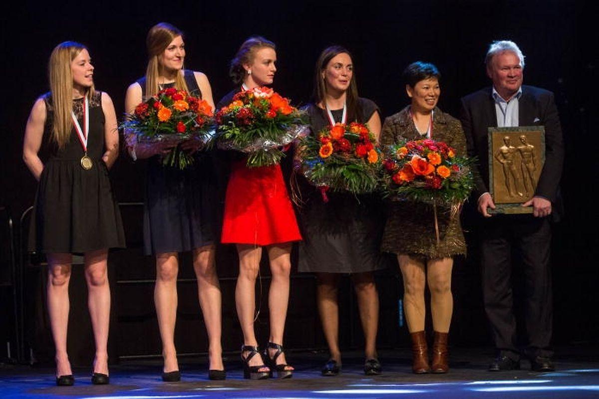 L'équipe nationale dames de tennis de table, lauréate en 2016 du Challenge de la meilleure équipe.