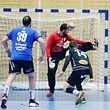 FLH Handball AXA League Meisterschaft 2018-2019 zwischen dem HB Dudelingen gegen den HB Esch 16.03.2019 Mladen JOVICIC (12HBD) haelt 7 Meter von Christian BOCK (14 HBE)