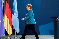 "German Chancellor Angela Merkel leaves at the end of her statement on September 2, 2020 at the Chancellery in Berlin after tests carried out by the German army on Russian opposition leader Alexei Navalny have provided ""unequivocal evidence of a chemical nerve agent from the Novichok family."" - The German government said that Russian opposition leader Alexei Navalny was poisoned with a Novichok nerve agent -- the same type of chemical used in Britain against ex-double agent Sergei Skripal, dramatically ramping up tensions with Moscow. Navalny, 44, fell ill after boarding a plane in Siberia last month. He was initially treated in a local hospital before being flown to Berlin for treatment. (Photo by Markus Schreiber / POOL / AFP)"