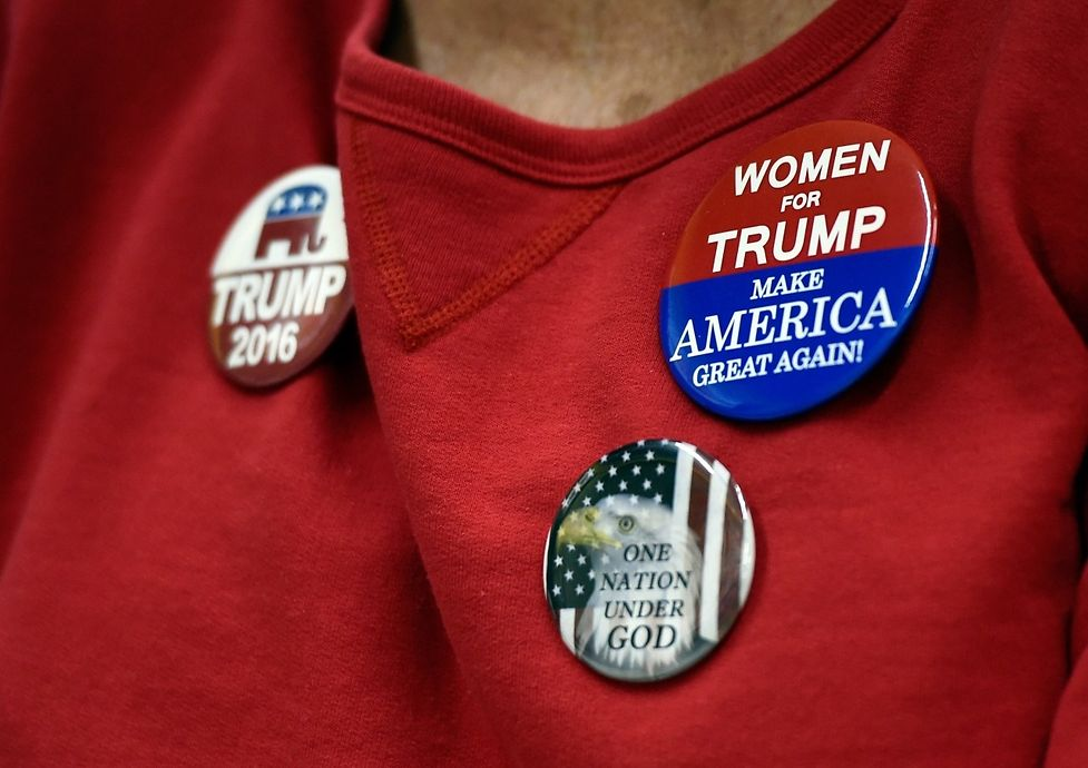 A woman displays support for Republican presidential nominee Donald Trump