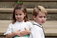 ARCHIV - 12.10.2018, Großbritannien, Windsor: Prinzessin Charlotte und Prinz George kommen zur Hochzeit von Prinzessin Eugenie in der St.-Georges-Kapelle von Schloss Windsor. Prinz George feiert am 22.07.2019 seinen sechsten Geburtstag. Foto: Steve Parsons/PA Wire/dpa +++ dpa-Bildfunk +++