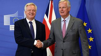 British Secretary of State for Exiting the European Union (Brexit Minister) David Davis (L) shakes hands with European Union Chief Negotiator in charge of Brexit negotiations with Britain Michel Barnier (R)  prior to their meeting in Brussels.
