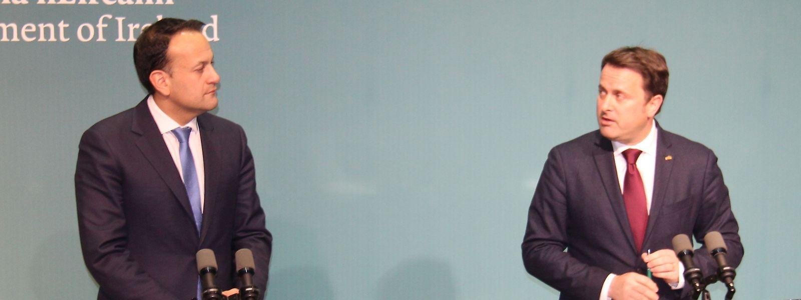 Premierminister Xavier Bettel zusammen mit seinem irischen Amtskollegen Leo Varadkar bei der gemeinsamen Pressekonferenz.