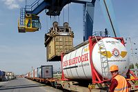 2.7. wi / Bettemburg / Visite CFL Plateforme Fret / Warentransport per Bahn / CFL Container / Containerterminal  /  Foto: Guy Jallay