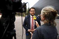 Per Jimmie Akesson, Vorsitzender der Sverigedemokraterna (Schwedische Demokraten).  7,3 Millionen Wähler wählen am 9. September 2018 in Schweden ein neues Parlament und eine neue Regierung.