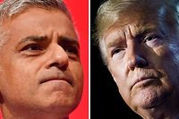 "(FILES) In this file photo taken on July 13, 2018 This combination of files pictures created in London on July 13, 2018 shows Mayor of London Sadiq Khan (L) delivering a speech on the second day of the Labour Party Conference in Brighton on September 25, 2017 and US President Donald Trump (R) addressing a press conference on the second day of the North Atlantic Treaty Organization (NATO) summit in Brussels on July 12, 2018. - US President Donald Trump arrived on his state visit to Britain on June 3, 2019 in combative mood, following up his weekend interventions over Brexit with a broadside against London's ""loser"" mayor. Trump's plane had not even touched down when he tweeted that Sadiq Khan, who has been highly critical of the red-carpet welcome laid on for Trump, had done a ""terrible job"" running London. (Photo by Ben STANSALL and Brendan SMIALOWSKI / AFP)"